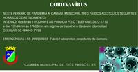 *JUNTOS TRANSFORMAMOS – A Câmara de Vereadores de Três Passos comunica a comunidade as medidas já adotadas em função da pandemia do coronavírus*