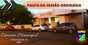 PAUTA  DA SESSÃO ORDINÁRIA DE HOJE